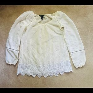 White House Black Market Tops - White House Black Market  Ivory  White Lace Top S